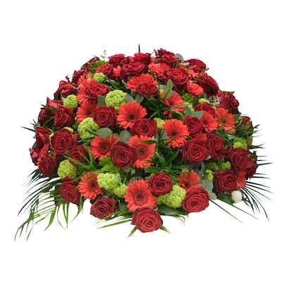 coussin fleurs rouge livraison deuil livrer