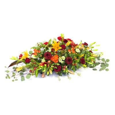 raquette fleurs jaune orange rouge fleurs livraison fleuriste deuil livrer deposer enterrement