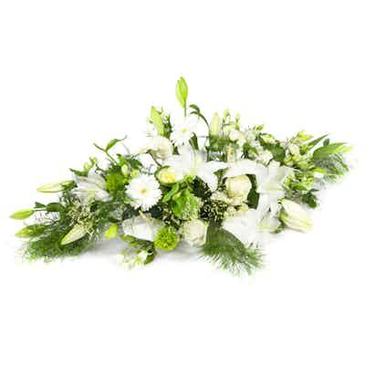 raquette fleurs blanches fleuriste livraison deuil obseques enterrement